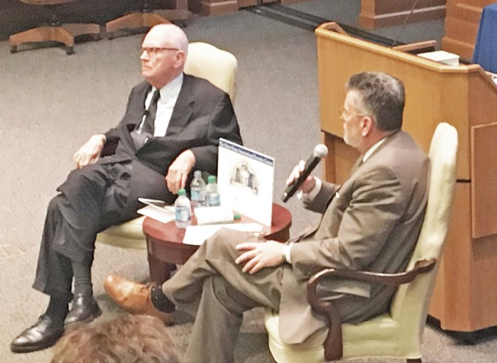 Former Congressman and vice-chair of the 9/11 Commission Lee Hamilton, left, reflected on issues such as terrorism threats and national security with political science professor Michael Desch, right, on Thursday.