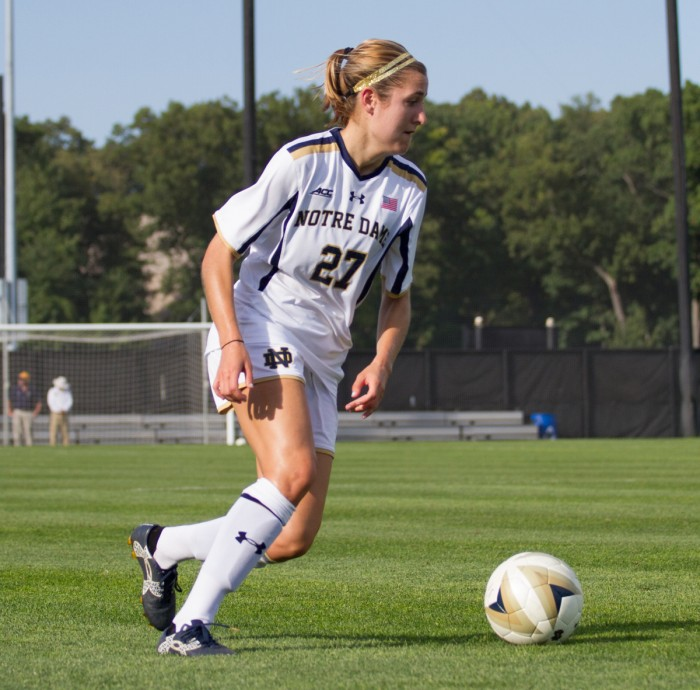 Irish senior forward and captain Kaleigh Olmsted looks to pass during Notre Dame's 1-0 win over Missouri on Sept. 4 at Alumni Stadium.