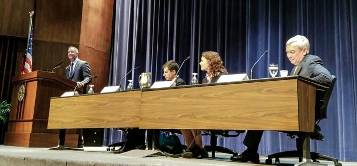Governor Martin O'Malley, Mayor Pete Butigieg, junior Alicia Czarnecki and vice president for research Robert Bernhard sit at Thursday night's panel in McKenna Hall.