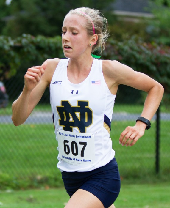 Irish sophomore Anna Rohrer races in the Joe Piane Notre Dame Invitational on Friday at Burke Golf Course. Rohrer finished in first place.