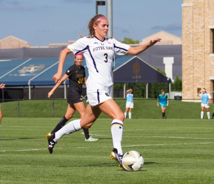 Irish sophomore defender Natalie Ward dribbles upfield in Notre Dame's 1-0 victory over Missouri on Sept. 4