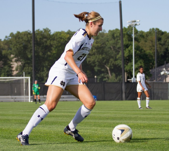 Irish senior forward Kaleigh Olmsted dribbles the ball during Notre Dame's 1-0 win over Missouri on Sept. 4 at Alumni Stadium.