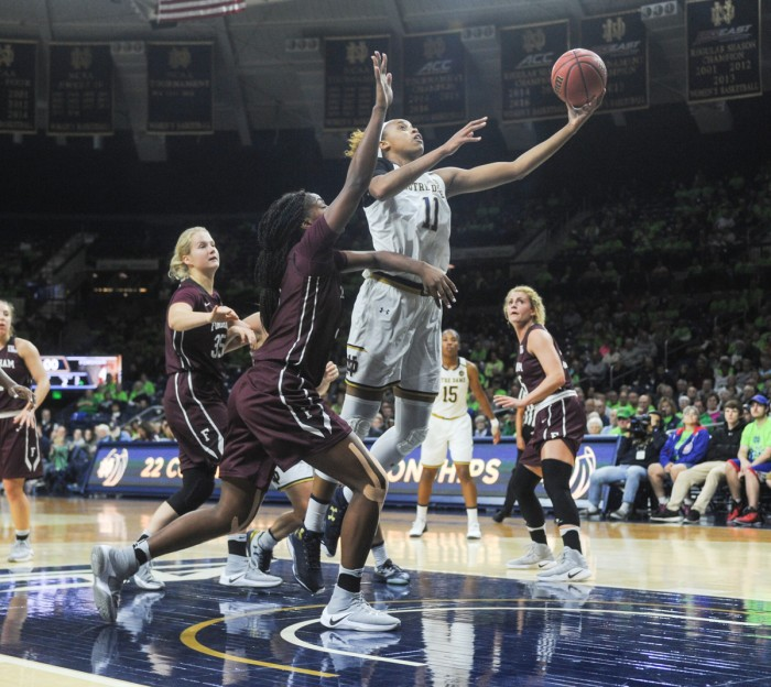 Junior forward Brianna Turner extends for a layup during Notre Dame's 67-36 victory over Fordham on Nov. 14 at Purcell Pavilion. Turner is averaging 13.3 points on a team-high .579 percentage on the season.