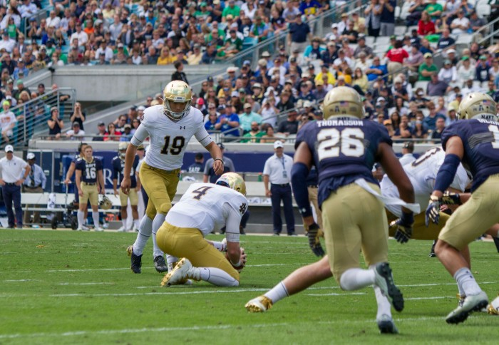 Irish sophomore Justin Yoon lines up a 31-yard field goal in the fourth quarter of Notre Dame's 28-27 loss to Navy on Saturday in Jacksonville. The field goal marked the last possession for Notre Dame.