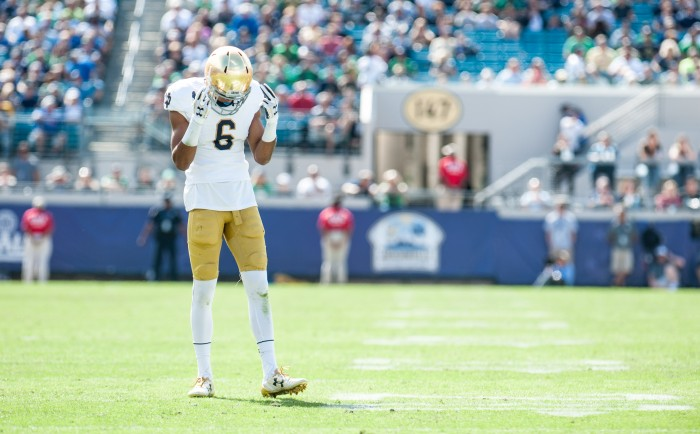 Equanimeous St. Brown psychs himself up before play the drive after a Navy touchdown.