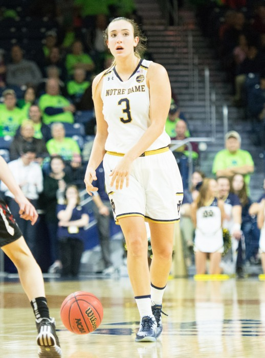 Irish sophomore guard Marina Mabrey brings the ball up the court during Notre Dame's 129-50 win over Roberts Wesleyan on Nov. 3.
