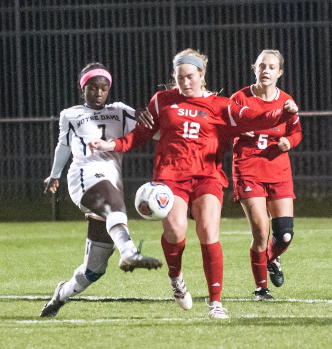 Irish junior forward Karin Muya fights for the ball in Notre Dame's loss in the first round of the NCAA tournament to SIUE on Friday.