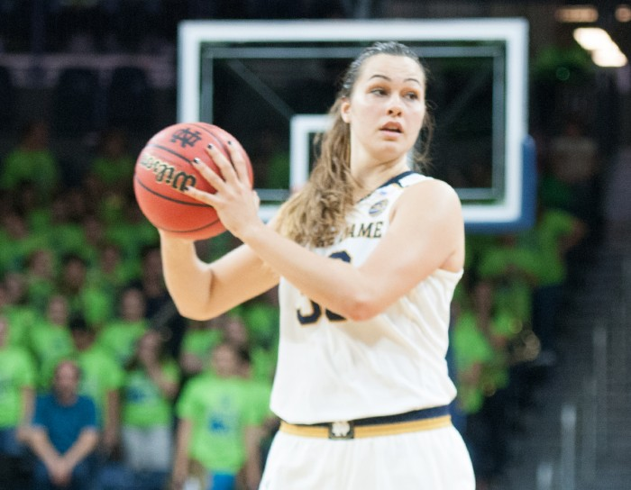 Irish junior forward Kathryn Westbeld looks to pass the ball during Notre Dame's 71-67 win over Green Bay on Thursday at Purcell Pavilion.