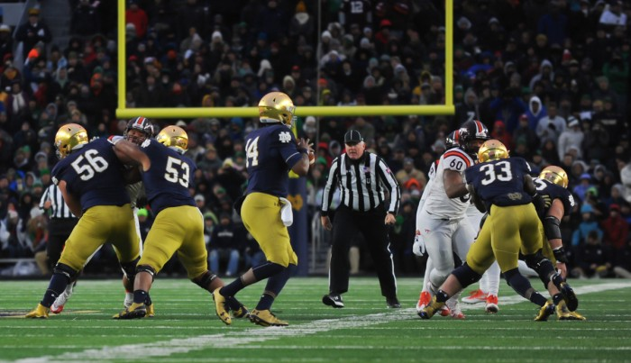 Irish junior quarterback DeShone Kizer drops back in the pocket during Saturday's 34-31 loss to Virginia Tech on Saturday. Kizer threw for 235 yards and two touchdowns in the contest.