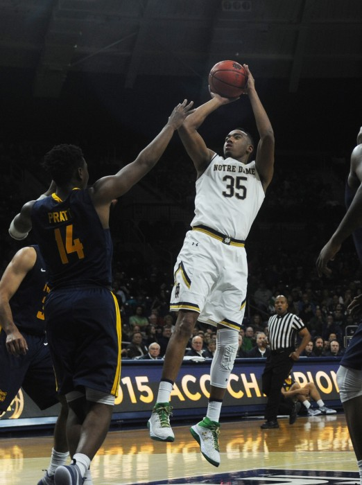Irish junior forward Bonzie Colson shoots from mid-rage during Notre Dame's 107-53 over North Carolina AT&T on Sunday.