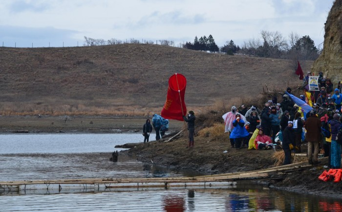 """Water protectors"" gather at the Standing Rock reservation in North Dakota."