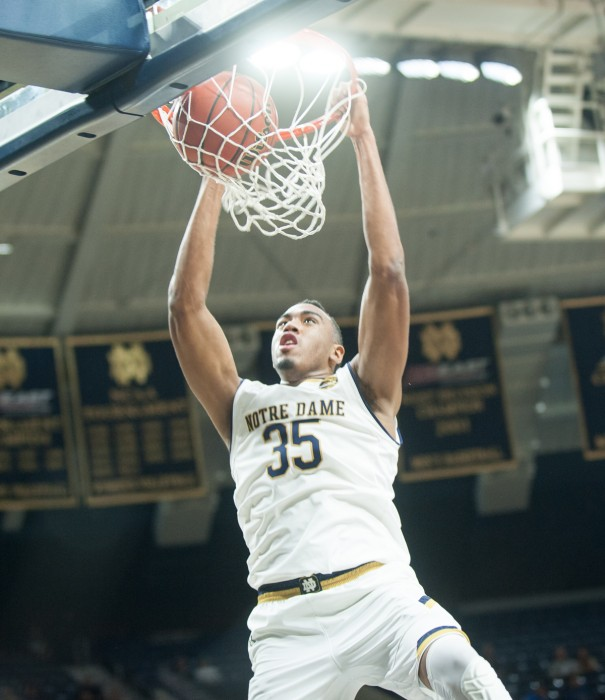 Irish junior forward Bonzie Colson dunks the basketball during Notre Dame's 87-72 win over Fort Wayne on Wednesday at Purcell Pavilion.
