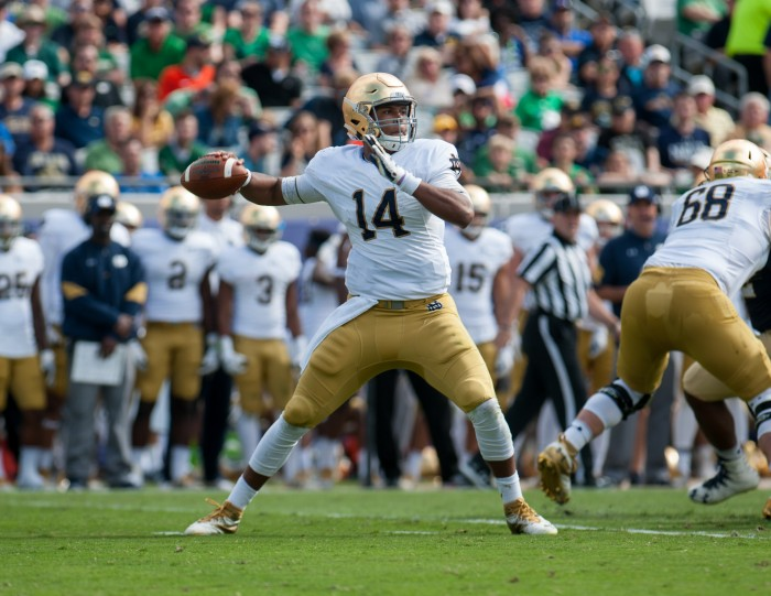 DeShone Kizer gets set to make a pass during Notre Dame's 28-27 loss to Navy on Nov. 5. Kizer announced Monday that he will declare for the NFL Draft.
