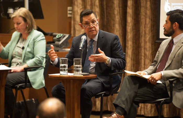 """Professor Luis Fraga speaks on a panel discussing what it means to be designated a sanctuary campus. Fraga began by defining sanctuary and noted it is not technically a """"legal jurisdiction."""""""