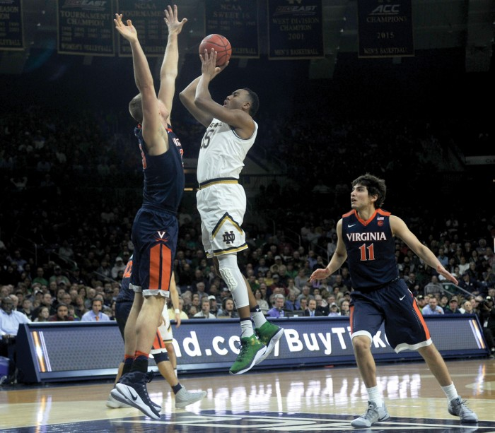 Irish junior forward Bonzie Colson shoots a jumper in Notre Dame's 71-54 loss to Virginia on Tuesday at Purcell Pavilion.