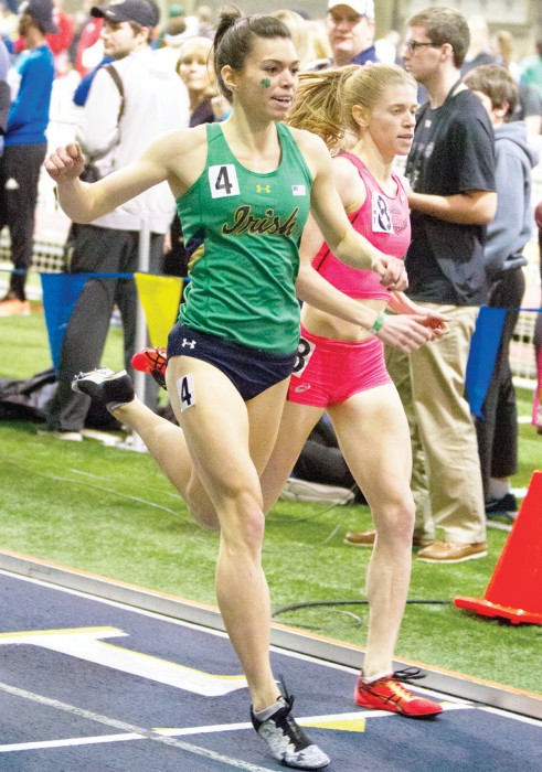 Irish junior Jessica Harris competes in the Meyo Mile during the Meyo Invitational at Loftus Sports Complex on Saturday.