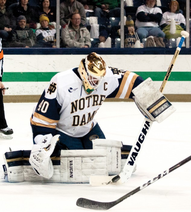 Irish junior goalie Cal Petersen makes a save during Notre Dame's 4-1 win over Vermont on Feb. 4 at Compton Family Ice Arena.