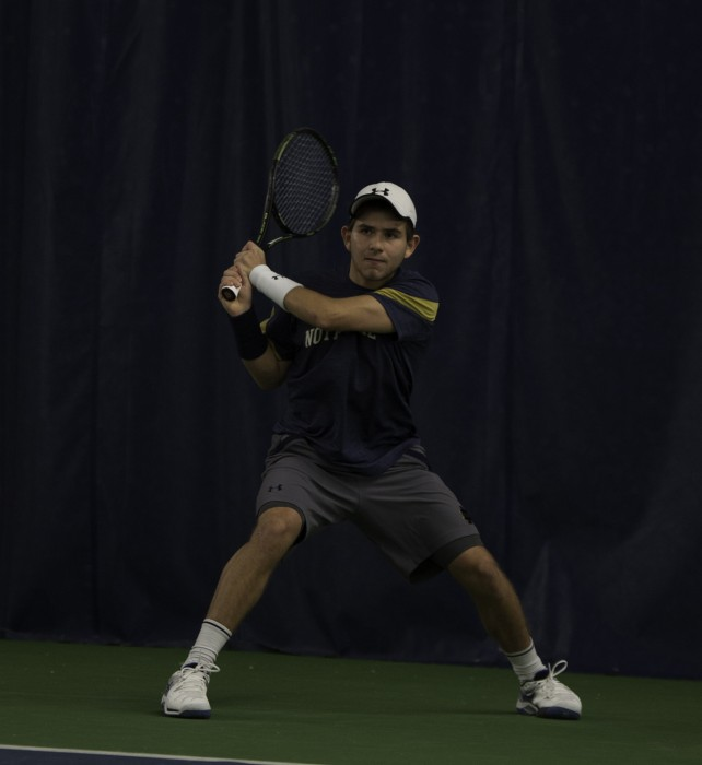 Irish freshman Guillermo Cabrera connects on a backhand during Notre Dame's 7-0 win over Boston College on Saturday at Eck Tennis Pavilion.