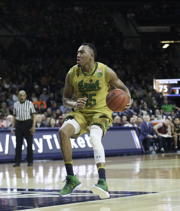 Irish junior forward Bonzie Colson surveys the court during Notre Dame's 84-72 win over Florida State on Saturday at Purcell Pavilion.