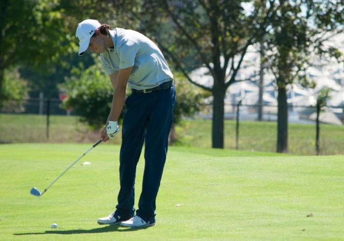 Irish freshman Davis Lamb strikes the ball during the Notre Dame Kickoff Challenge on Sept. 3 at Warren Golf Course.