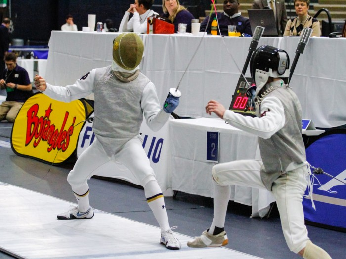 Irish junior foilist Virgile Collineau lunges at his opponent during the ACC championships on Feb. 28, 2016, at Castellan Family Fencing Center. The Irish look to repeat as ACC champs this year.