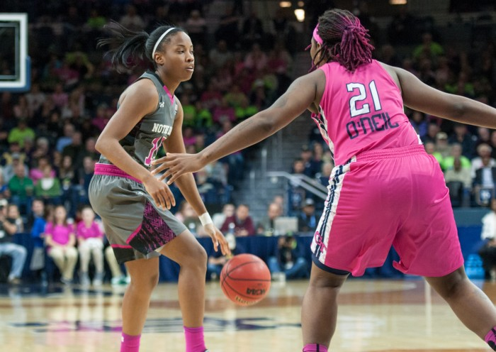Irish senior guard Lindsay Allen considers her options during Notre Dame's 90-69 win over Georgia Tech on Feb. 12 at Purcell Pavilion.