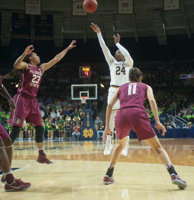 Irish sophomore guard Arike Ogunbowale takes a shot in Notre Dame's 79-61 victory over Florida State on Feb. 26 at Purcell Pavilion.