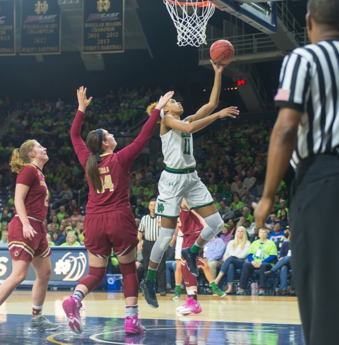 Irish junior forward Brianna Turner goes up for a layup during Notre Dame's 80-69 win over Boston College on Jan. 19 at Purcell Pavilion.