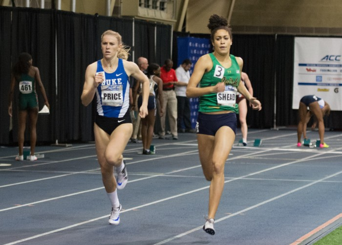 Irish junior Jordan Shead competes in the 400-meter race during the ACC indoor championships at Loftus Sports Center on Feb. 24.
