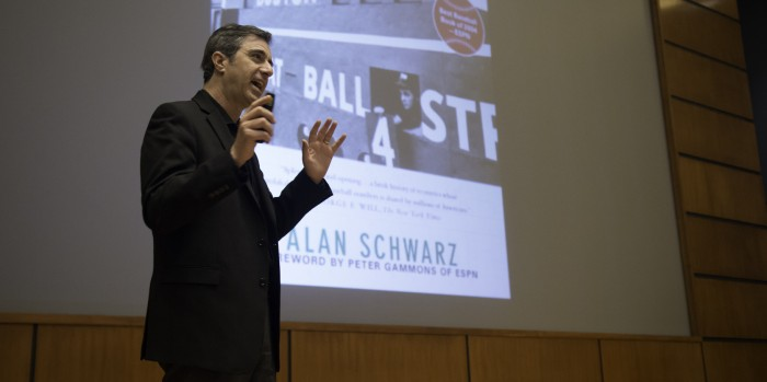 Allan Schwarz, the journalist who broke the story on the football-concussion connection, speaks at Notre Dame on Wednesday.