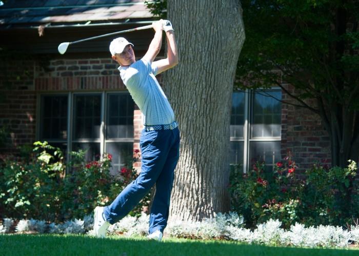 Irish senior Blake Barens follows through on his tee shot during the Notre Dame Kickoff Challenge on Sept. 3 at Warren Golf Course.
