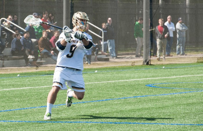 Irish sophomore midfielder Brendan Gleason looks to pass during Notre Dame's 11-10 loss to Syracuse on Saturday at Arlotta Stadium.