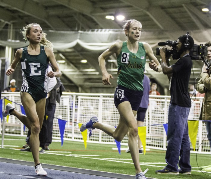 Irish sophomore Anna Rohrer competes in the 3,000-meter race at the Meyo Invitational on Feb. 4 at Loftus Sports Center.