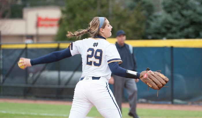 Irish junior pitcher Katie Beriont throws a pitch during Notre Dame's 1-0 win over Eastern Michigan on March 29.