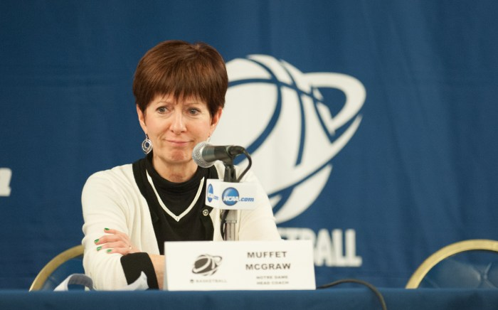 Muffet McGraw smirks during her post-game press conference after Notre Dame defeated Montana 77-43 in the first round of the NCAA tournament at Purcell Pavilion on March 20, 2015.