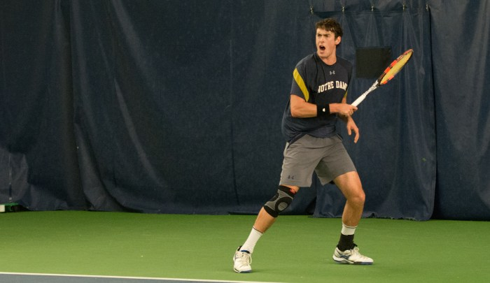 Sophomore Alex Lebedev prepares a backhand during Notre Dame's 4-1 victory over Northwestern on Feb. 24 at Eck Tennis Pavilion.