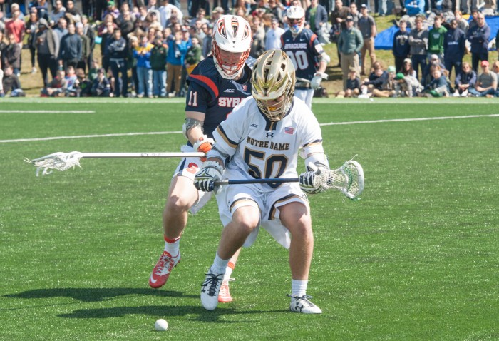 Irish sophomore attack Ryder Garnsey hustles for a ground ball  during Notre Dame's 11-10 loss to Syracuse on April 1.