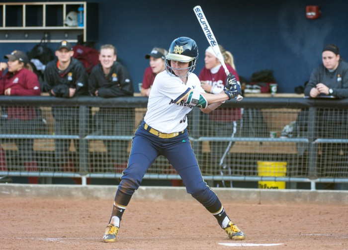 Irish junior shortstop Morgan Reed awaits an incoming pitch during Notre Dame's 13-4 win over IUPUI on April 12 at Melissa Cook Stadium. Reed leads the Irish with a .400 batting average and 39 RBIs.