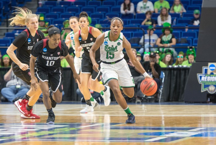 Irish senior guard Lindsay Allen brings the ball up the court during Notre Dame's 76-75 loss to Stanford on March 26.