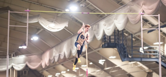 Irish senior pole vaulter Nathan Richartz attempts a vault during the Notre Dame Invitational on Jan. 25, 2014.