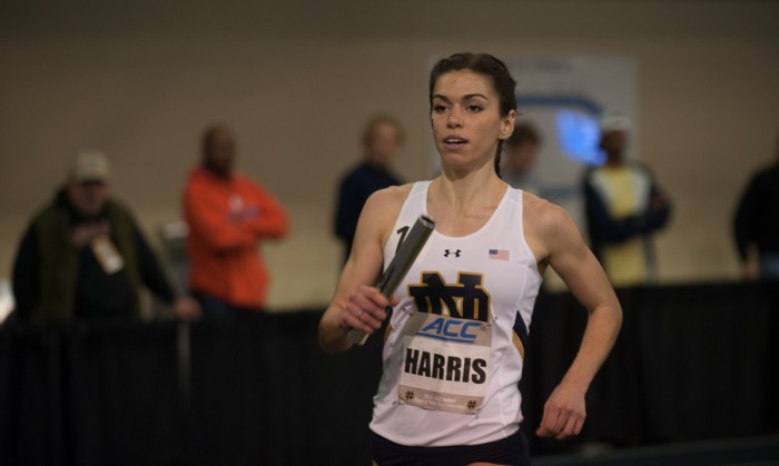 Irish junior Jessica Harris races in the distance medley relay during the ACC indoor championship on Feb. Feb. 23 at Loftus Sports Center.