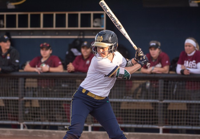 Irish junior shortstop Morgan Reed awaits a pitch during Notre Dame's 13-4 win over IUPUI on April 12 at Melissa Cook Stadium.