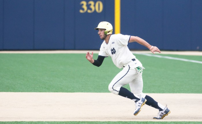 Irish sophomore outfielder Matt Vierling runs to second base  during Notre Dame's 5-4 win over Duke on Friday.