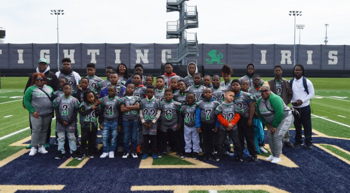 """The North Lawndale Eagles Football Program participate in a """"Play Like a Champion Today"""" sponsored trip to the Blue and Gold Game at Notre Dame on April 22."""