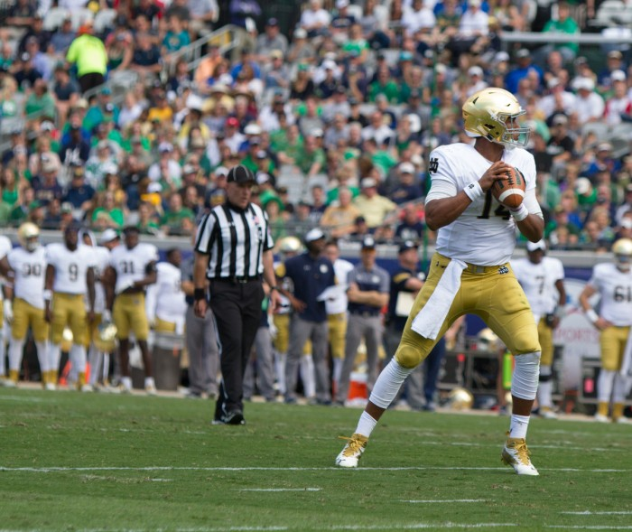 Irish junior quarterback DeShone Kizer prepares to throw a pass during Notre Dame's 28-27 loss to Navy at EverBank Field.