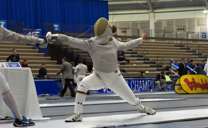 Irish junior Francesca Russo lunges at her opponent at the ACC championships on Feb. 27, 2016 at Castellan Family Fencing Center. The Irish women went on to win the event and Russo went undefeated on the day. Russo took home one of Notre Dame's two individual titles in March.