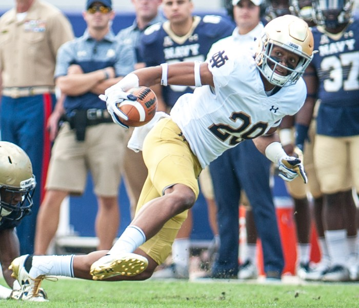 Irish sophomore receiver Kevin Stepherson catches a pass in the flat during Notre Dame's 28-27 loss to Navy on Nov. 5, 2016, at EverBank Field in Jacksonville, Florida.