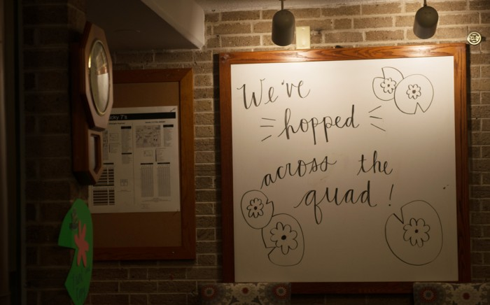 A whiteboard at the entrance of Pangborn Hall welcomes the Badin community to its home for the year. As renovations take place in Badin Hall, the Bullfrogs have relocated to the opposite side of South Quad.