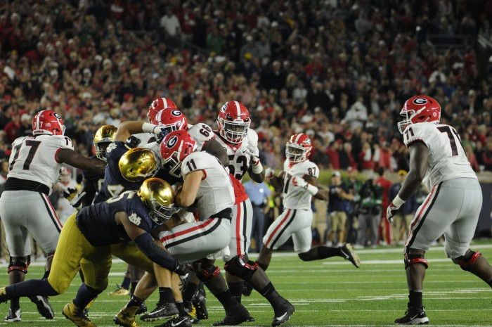 Irish senior defensive lineman Jonathan Bonner sacks freshman Bulldogs quarterback Jake Fromm in Notre Dame's 20-19 loss to Georgia on Saturday at Notre Dame Stadium.