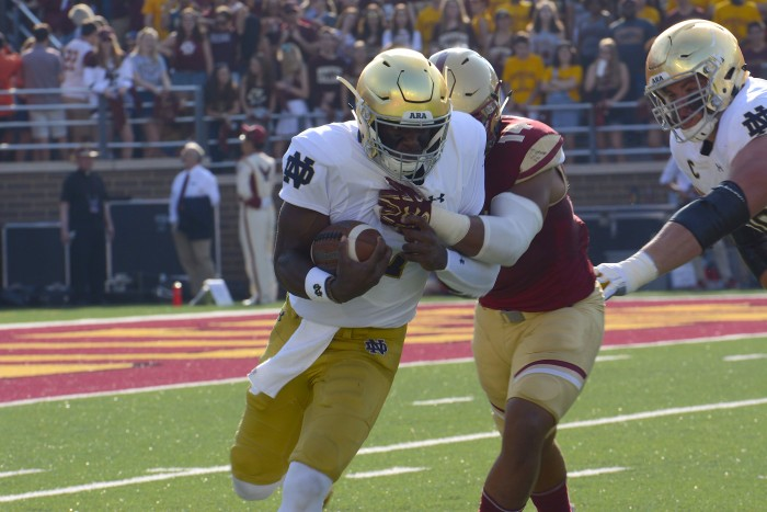Irish junior running back Josh Adams carries the ball in Notre Dame's 49-20 victory over Boston College on Saturday at Alumni Stadium in Chestnut Hill, Massachusetts.